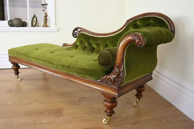 Antique victorian chaise longue settee couch for Antique fainting couch chaise