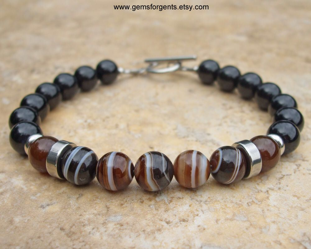 Brown Banded Agate Coffee Brown Agate and Black Onyx Mens Beaded