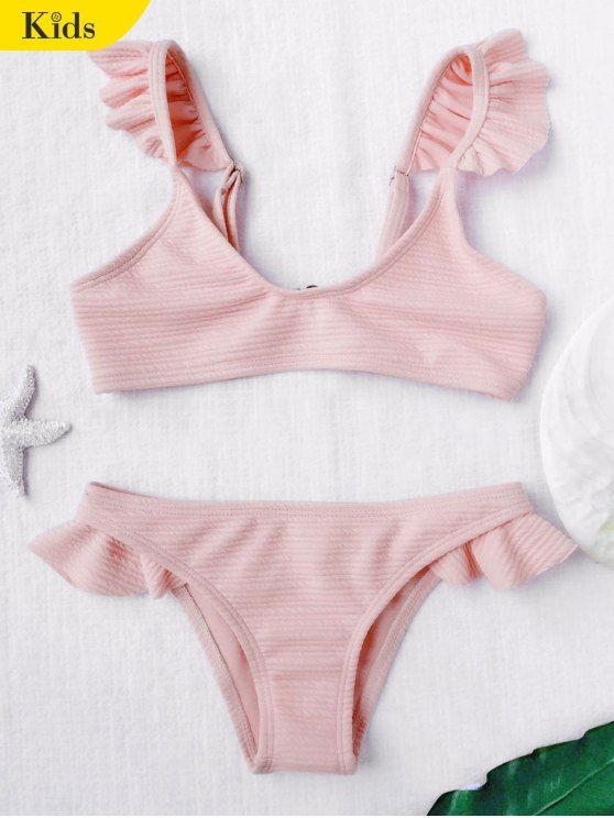 d40fa278b6315 AD   Scoop Ribbed Texture Frilled Bikini - SHALLOW PINK 6T Cute children  two piece bathing suit featuring a scoop collar and ruffle adjusted  shoulder straps ...