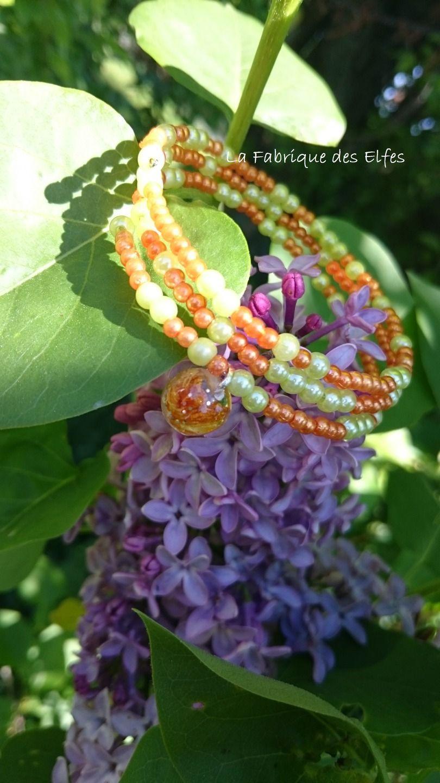 CADEAU ORIGINAL BRACELET MANCHETTE ANIS ET MANDARINE : Bracelet par la-fabrique-des-elfes