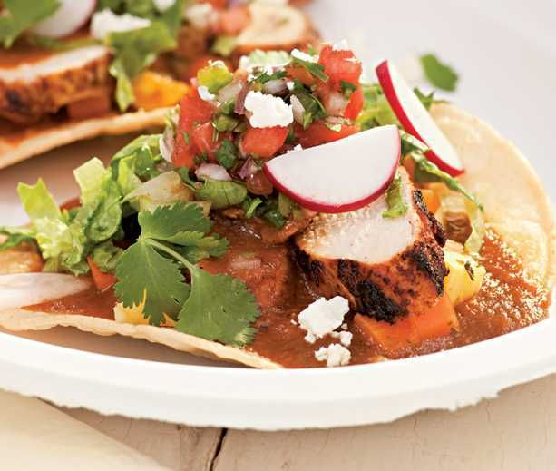 Day 9 Lunch: Grilled Chicken Tostadas with Sweet-&-Sour Vegetables