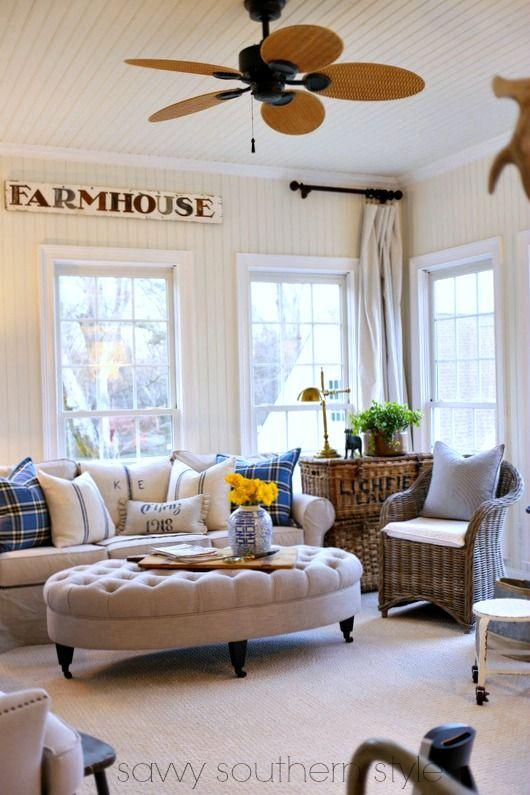 Farmhouse Sunroom Curtains