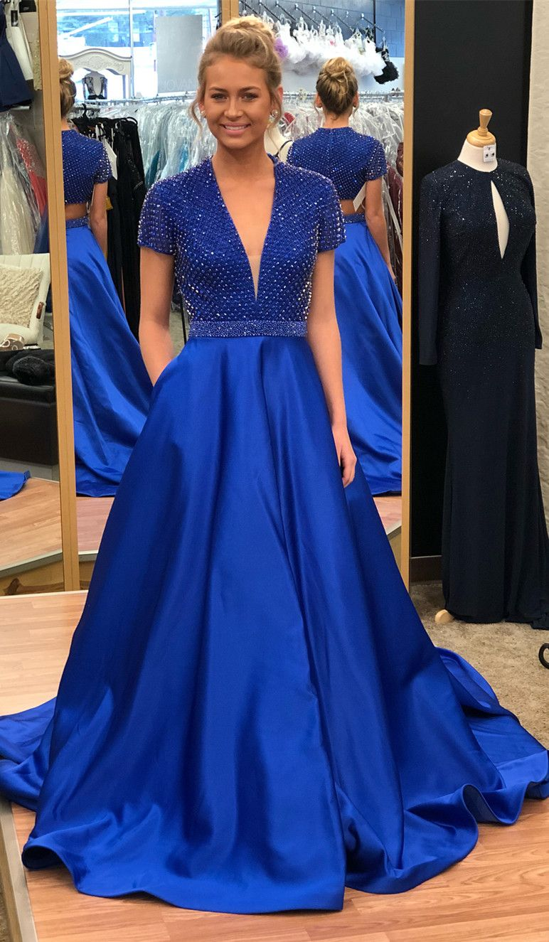 Royal blue long prom dress with cap sleeves prom dress with