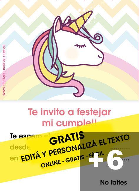 6 Tarjetas De Cumpleaños De Unicornios Para Editar