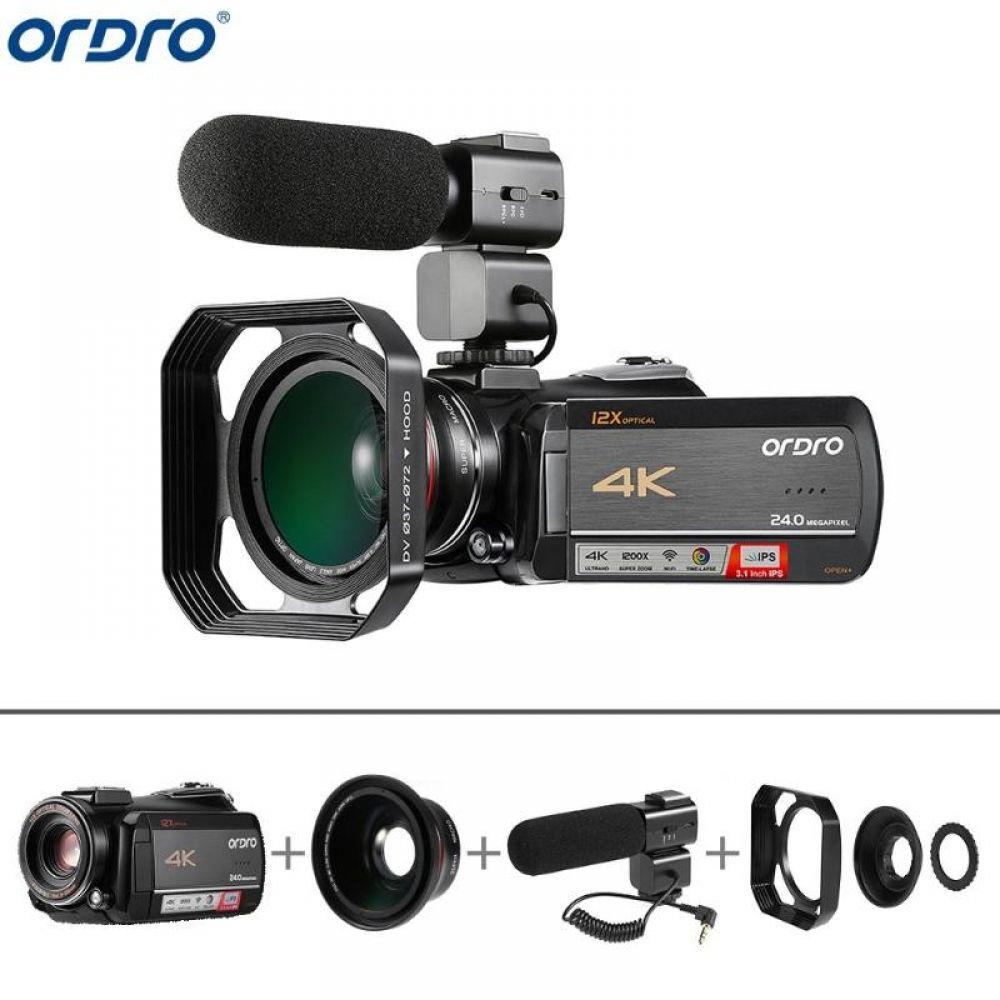 Ordro AC5 4K UHD 12X Optical Zoom Digital Cameras FHD 24MP WiFi IPS Touch Screen Camcorders+Lens Hood+Wide Angle Lens+Microphone #wideangle