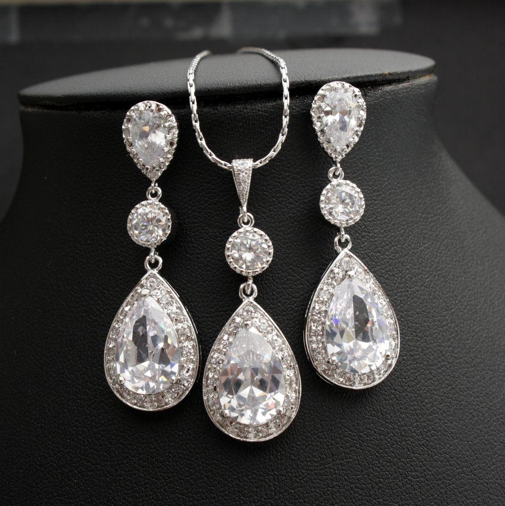 Evana Bridal Jewelry Set with Cubic Zirconia Crystal