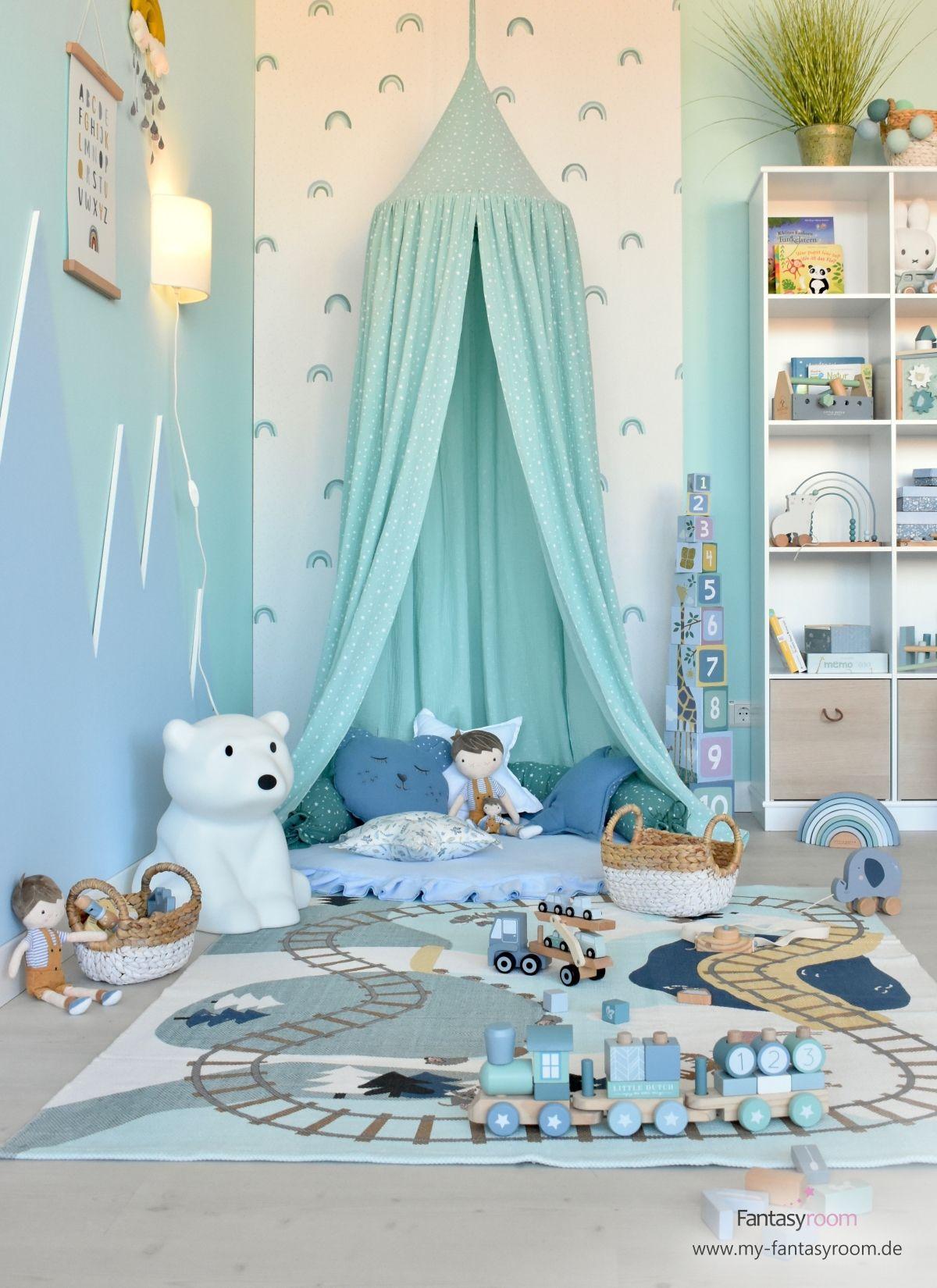 Photo of Kreatives Kinder-Spielzimmer für Jungen in Mint & Blau