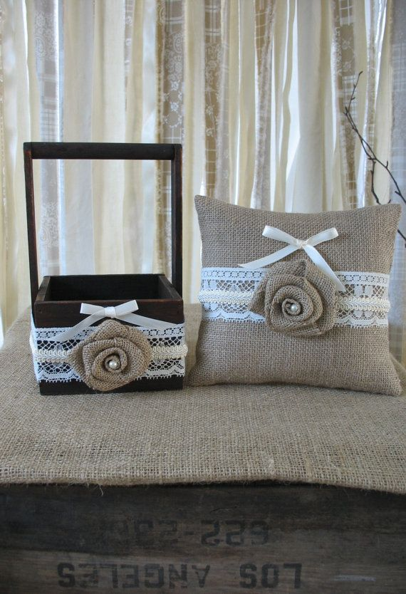 Flower Girl Basket Ring Bearer Pillow Set Shabby Chic Wedding Rustic Wedding Burlap and Lace
