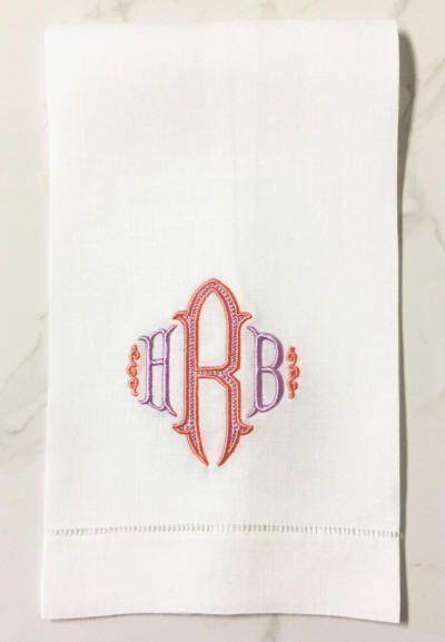 Danielle Monogrammed Linen Guest Towel-Bella Lino Monogram Linens-Guest Towels