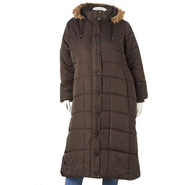 29d85858f6b31 Plus Size Excelled Hooded Long Puffer Coat ( 120) ❤ liked on Polyvore  featuring plus size women s fashion