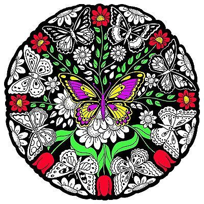 Large 20x20 Inch Fuzzy Velvet Coloring Poster Butterfly Mandala