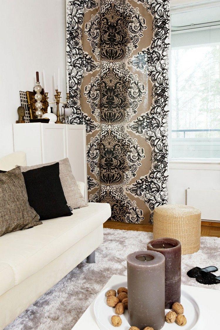 Gardinen im Wohnzimmer naturtoene-braun-weiss-creme | möbel ...