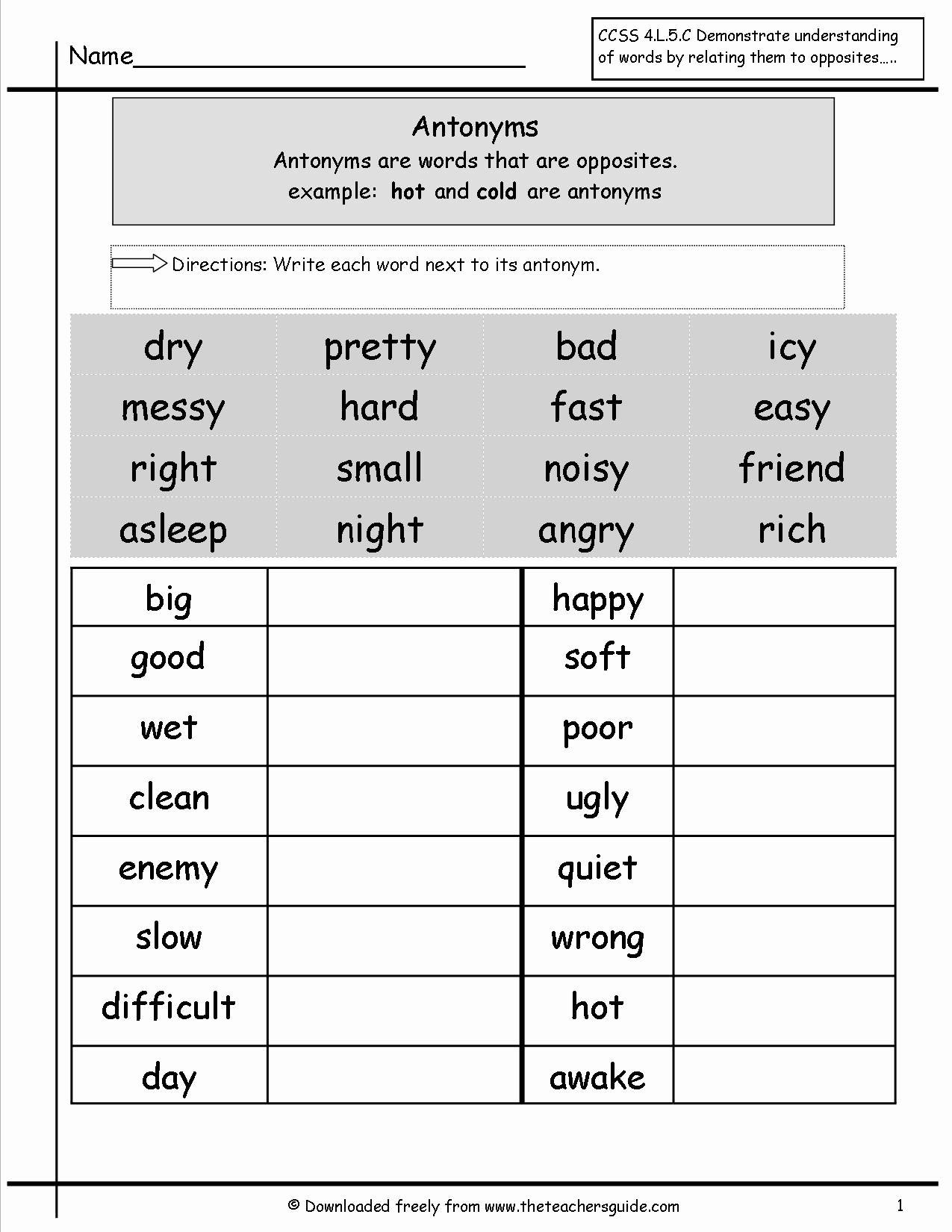 Antonyms Worksheets Grade 2 Best Of 18 Best Images Of 1st Grade Worksheets Synonyms Antony Third Grade Grammar Worksheets Grammar Worksheets Antonyms Worksheet
