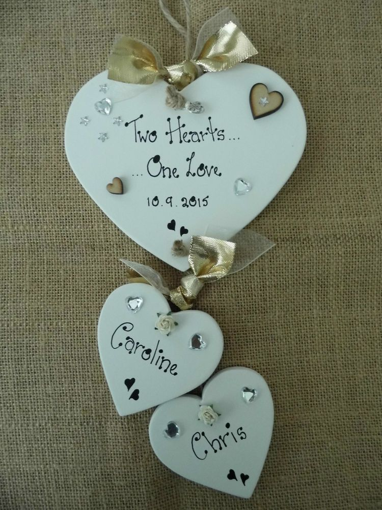 PERSONALISED Wedding Heart ~ Keepsake Present Gift ~ Sign Plaque ~ FREE Gift Tag