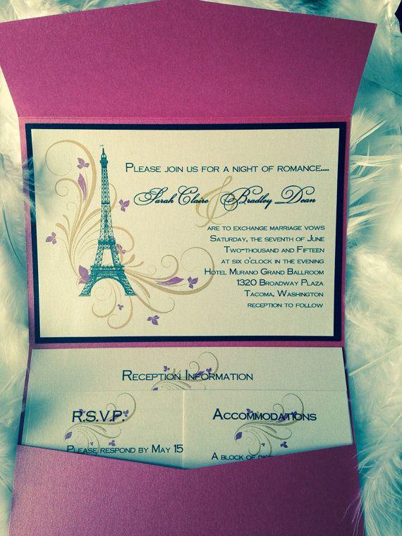 Paris Wedding Invitations Pop Up Wedding Invitations Lovers Of Tower ...