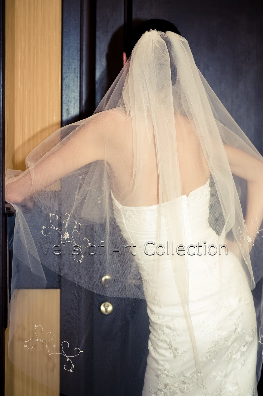 NWT 2T Fingertip Bridal Wedding Veil Beaded VE231 Handcrafted. $99.00, via Etsy.