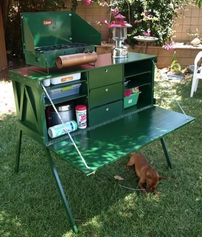 Homemade Camp Kitchen The Colour Green Reminds Me Of Grandma And Grandpa S Old Stove By Coleman Cg Camp Kitchen Box Camping Box Outdoor Camping Kitchen