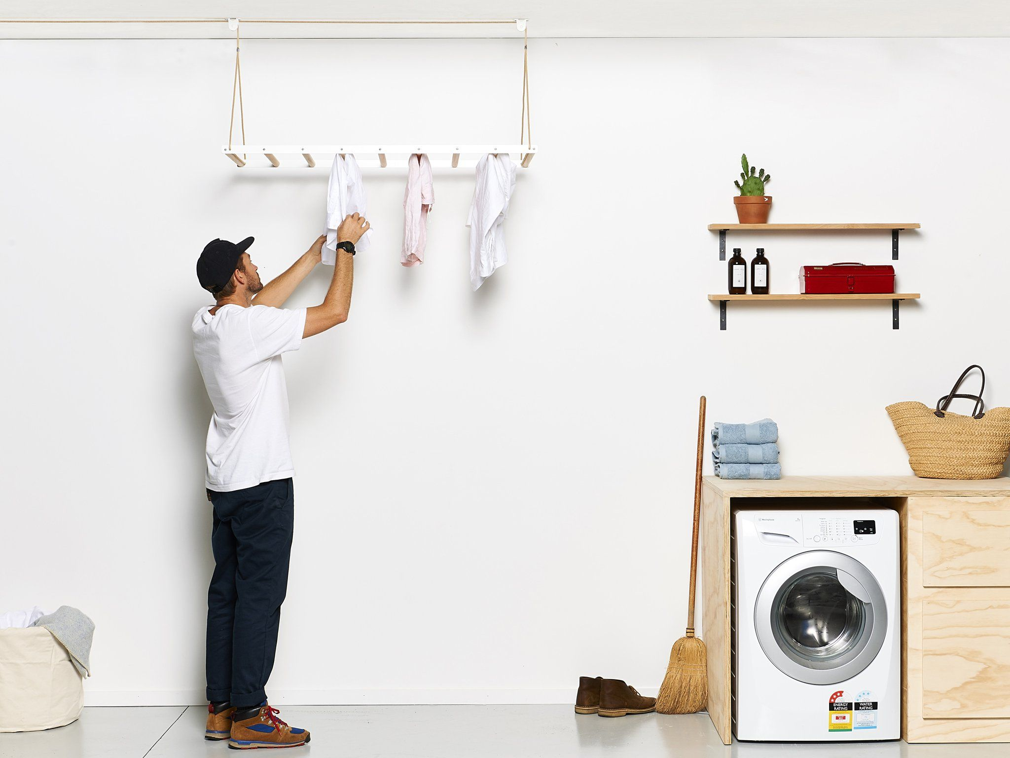 Hanging Drying Rack | Ceiling-Mounted Clothes Line | Wooden Laundry Rack – George and Willy