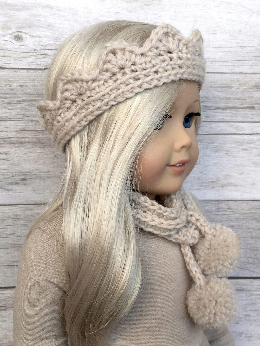 DIY Crochet Pattern – 18 inch Doll Tiara/Crown Headband and Skinny ...