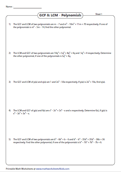Finding The Other Polynomial Using The Given Gcf And Lcm Polynomials Greatest Common Factors Gcf