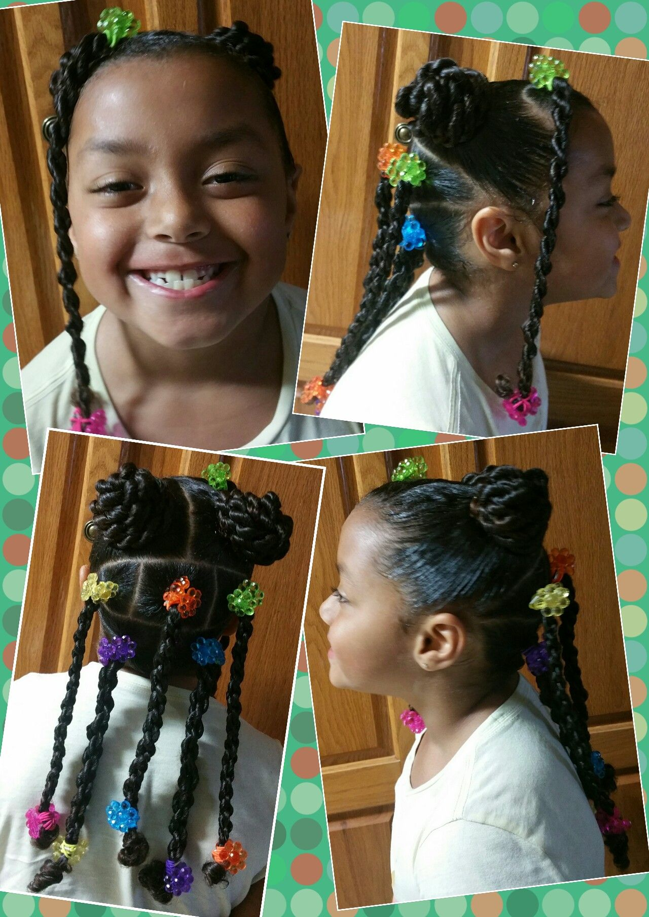 little girls braids rope buns twists natural hair black mixed