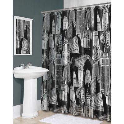 Splash Home Peva Cityscape Shower Curtain Vinyl Shower Curtains