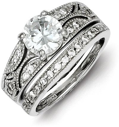 2 Piece Silver Milgrain CZ Engagement Wedding Ring Set