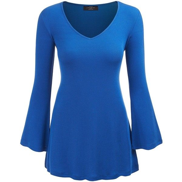 CTC WT1055 Womens V Neck Long Bell Sleeves Pullover Tunic Top S AQUA... ($18) ❤ liked on Polyvore featuring tops, tunics, bell sleeve tops, long pullover, long bell sleeve tops, v-neck pullover and sweater pullover