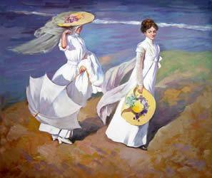 son dos chicas paseando en la playa vestidas de blanco y con un poco de viento en la cara