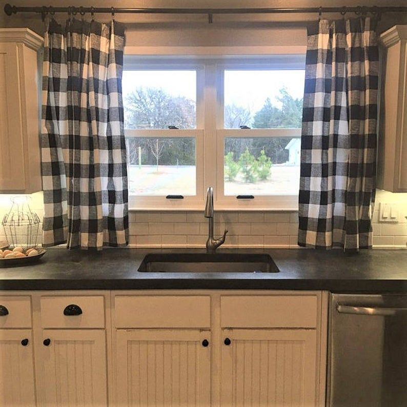 black and white buffalo check curtains rod pocket optional cotton or blackout lining in 2020 on farmhouse kitchen curtains id=84867