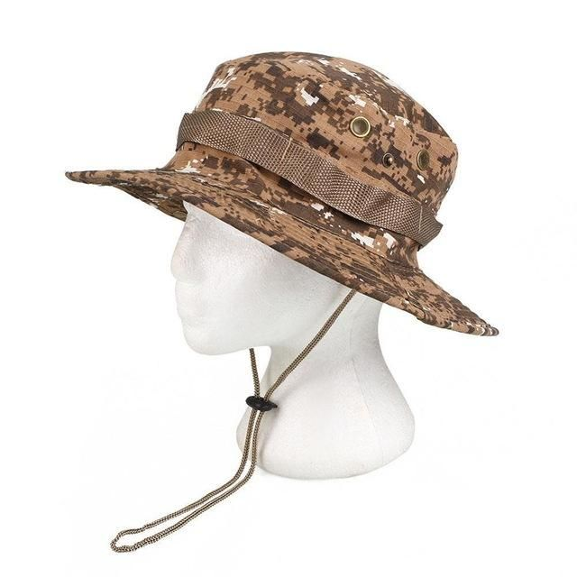 f53d33e7de0 FISHING HUNTING CAMO BOONIE BUCKET HAT TACTICAL ARMY MILITARY JUNGLE BUSH  SUMMER SUN CAMOUFLAGE CAPS