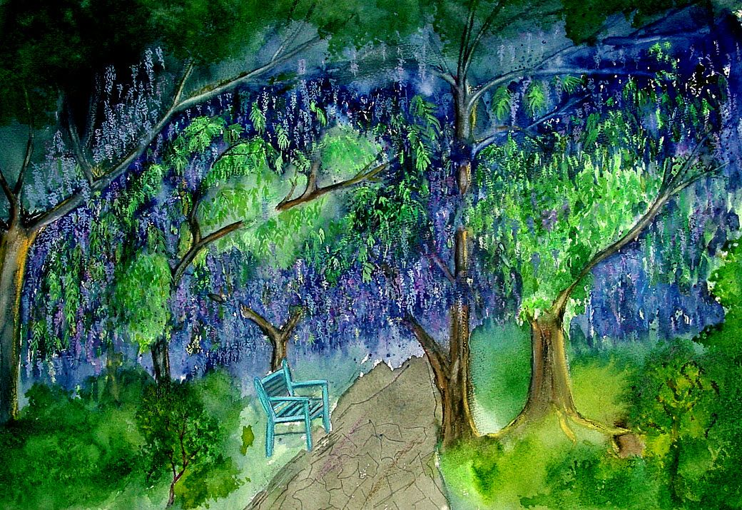 Under the Wisteria bloom - Watercolour painting by Tjaša Kuerpick