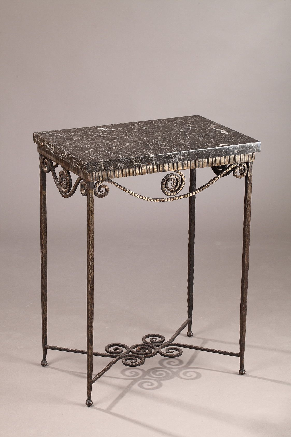 Art deco console table in wrought iron decorated with vertical art deco console table in wrought iron decorated with vertical grooves and spirals the rectangular geotapseo Image collections