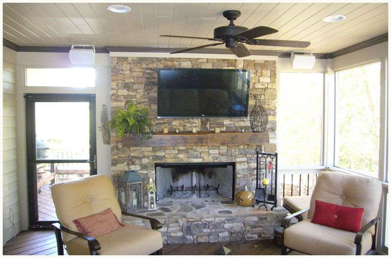 Atlanta Porches by Synergy Outdoor. Fireplace and TV setup ... on Synergy Outdoor Living id=70698