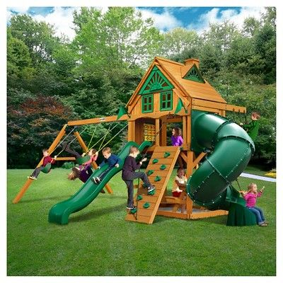 Gorilla Playsets Mountaineer Treehouse Swing Set With Fort Add On