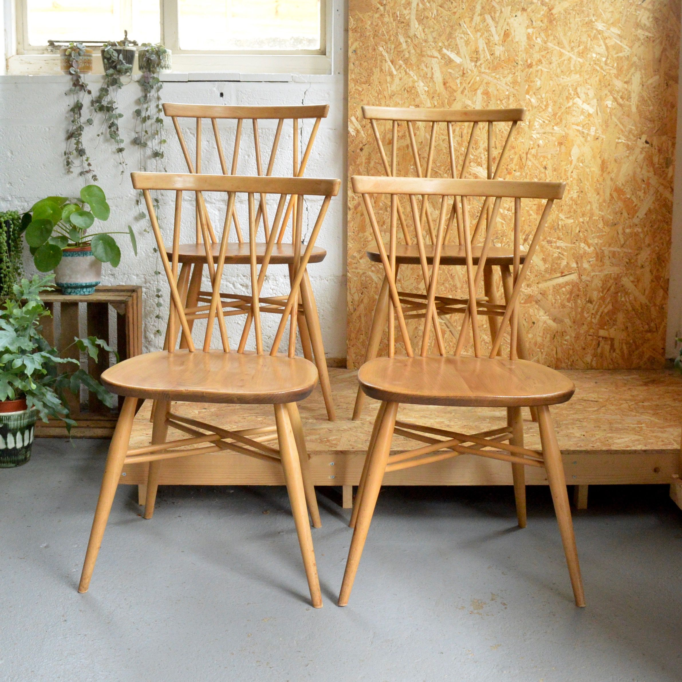 Set of Four Vintage Ercol Candlestick Chairs (With images
