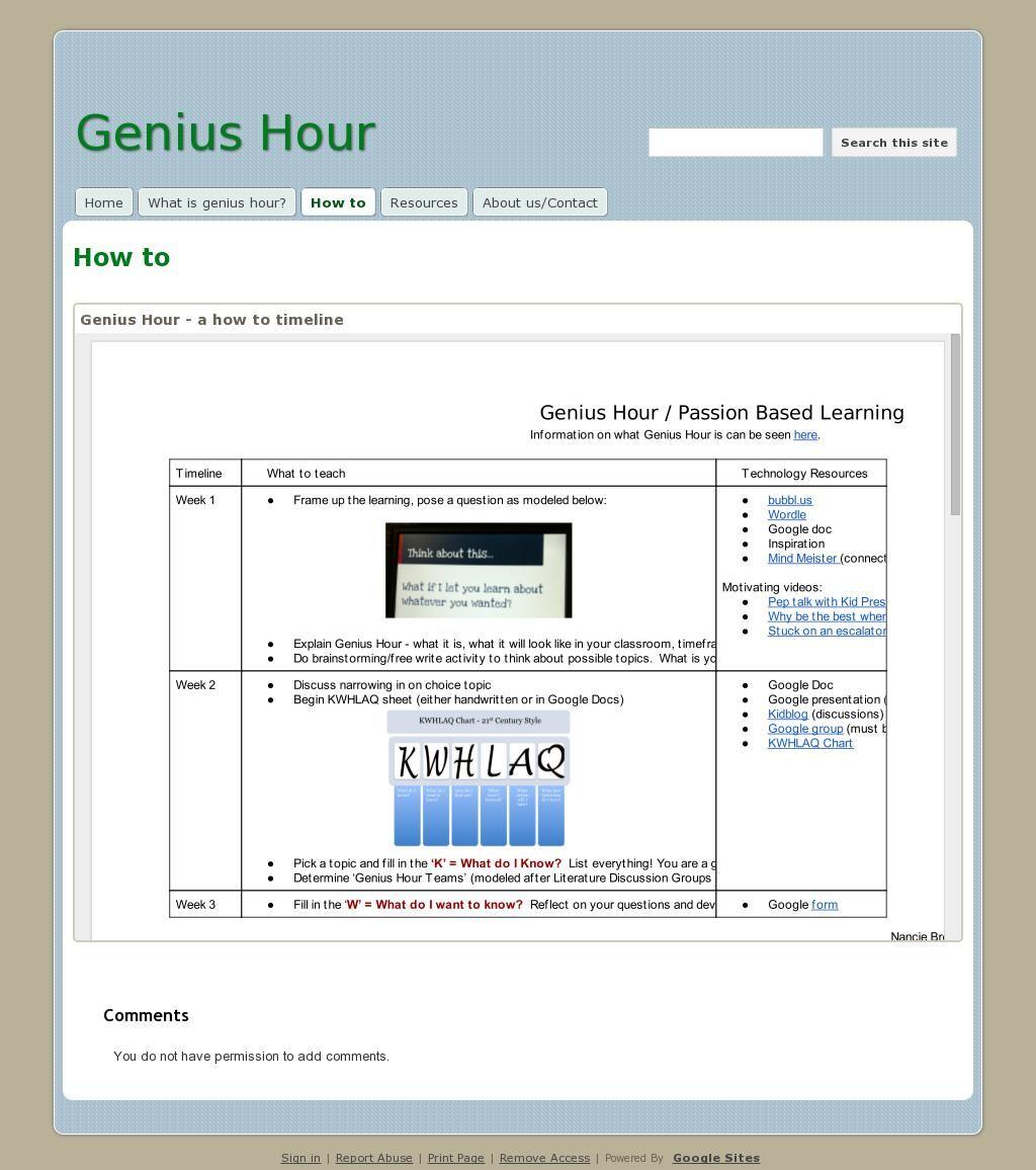 Genius Hour Timeline