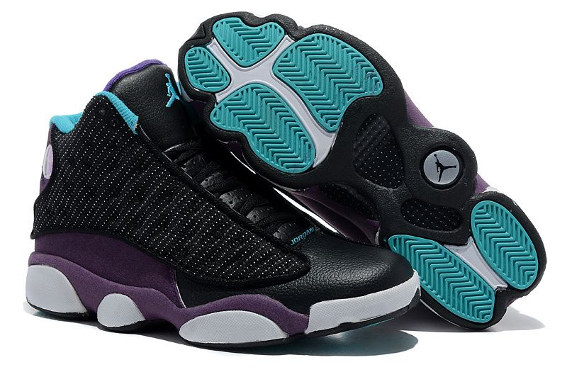 Latest Listing Air Jordan 13 (XIII) Inside with fluff Black Purple  Basketball Shoes Store