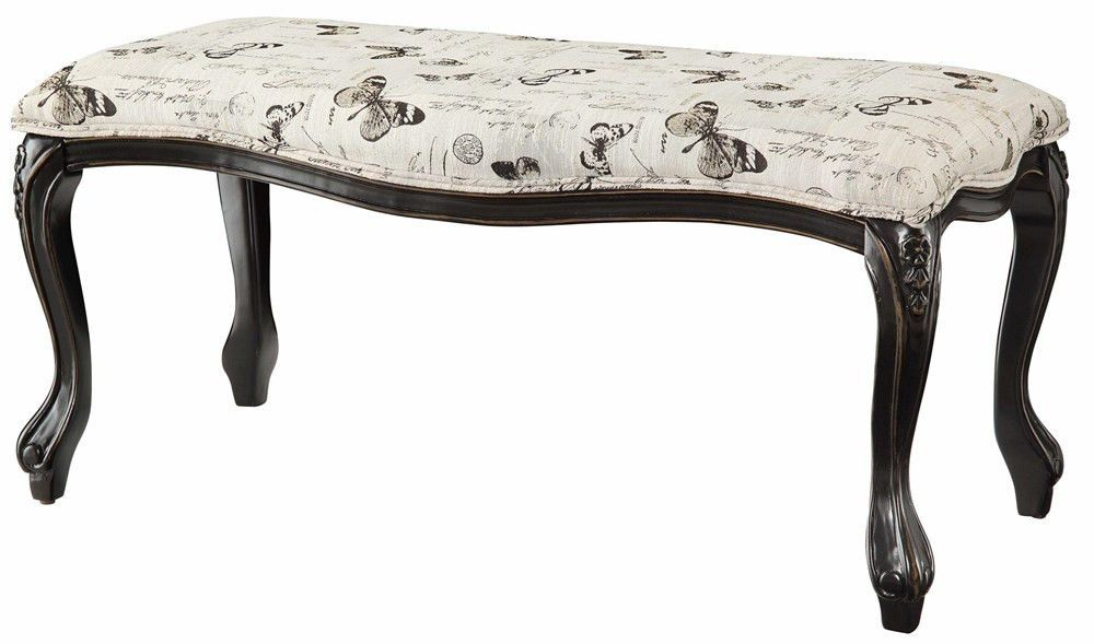Butterfly Black and White Accent Bench