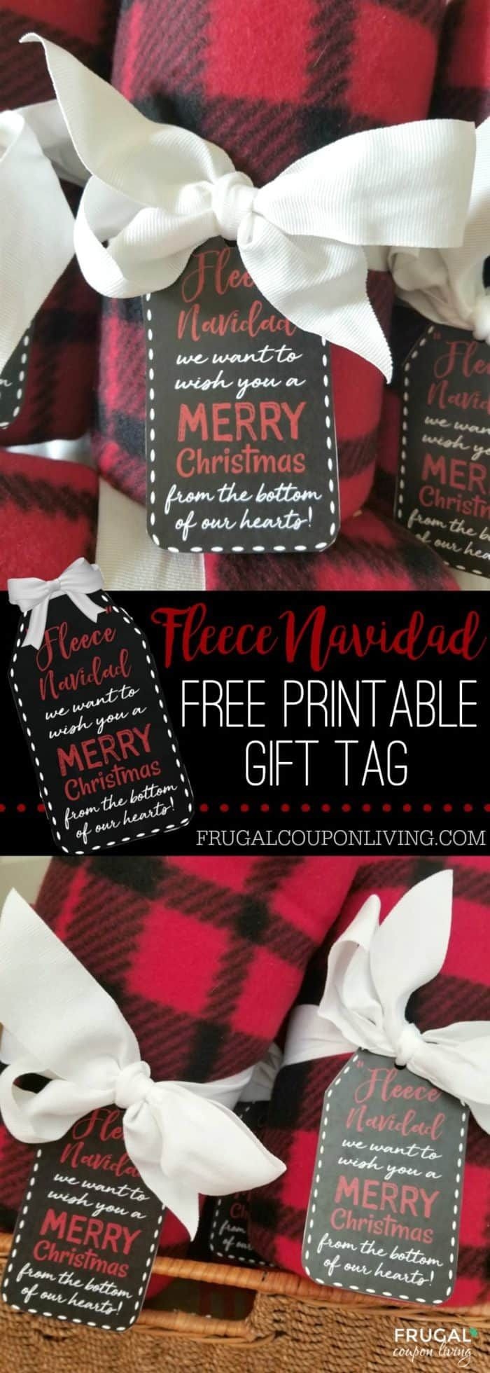 Printable Fleece Navidad Gift Tag - Christmas Teacher Gift Idea