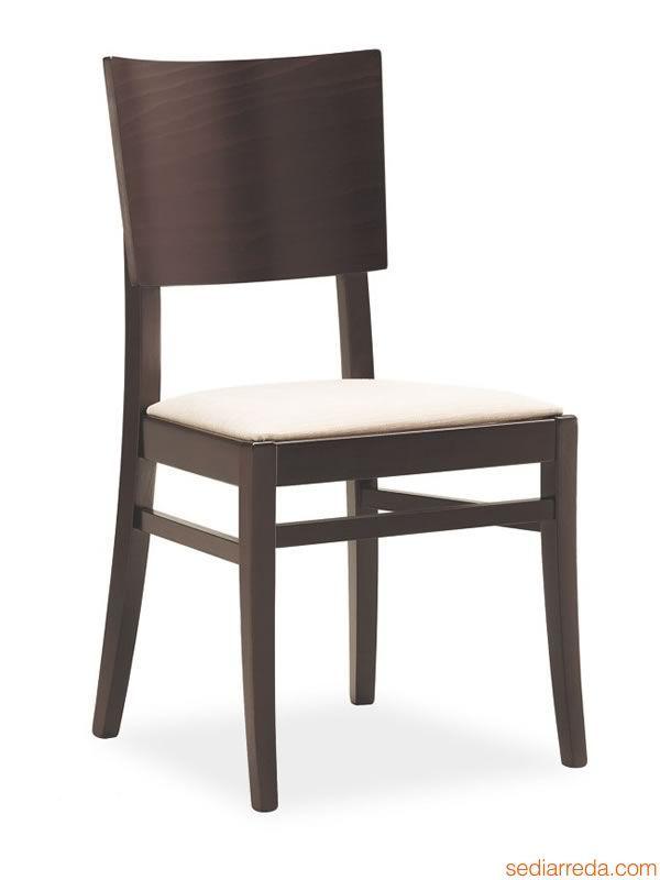 610 | Stuhl aus Buchenholz wengefarbig lasiert, gepolstertee Sitzfläche
