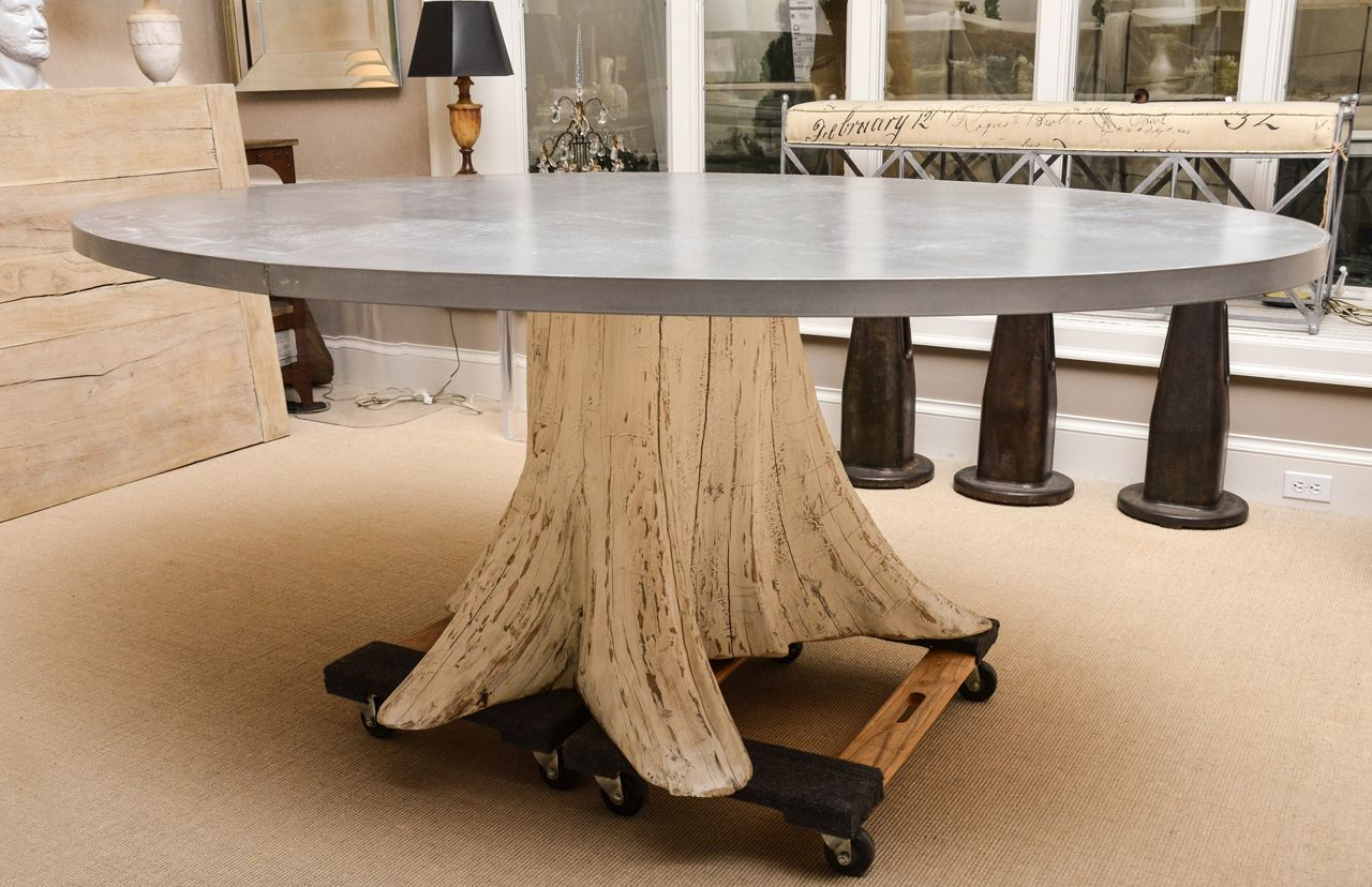 Natural Tree Trunk Dining Table With Zinc Top 1stdibs Com