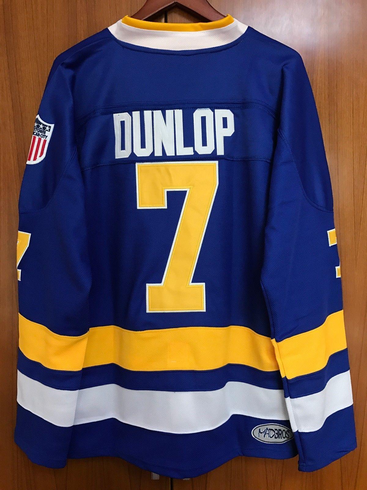 Ice Hockey Jersey Slap Shot Reggie Dunlop 7  Charlestown Chiefs Blue  Stitched  87007d3e4