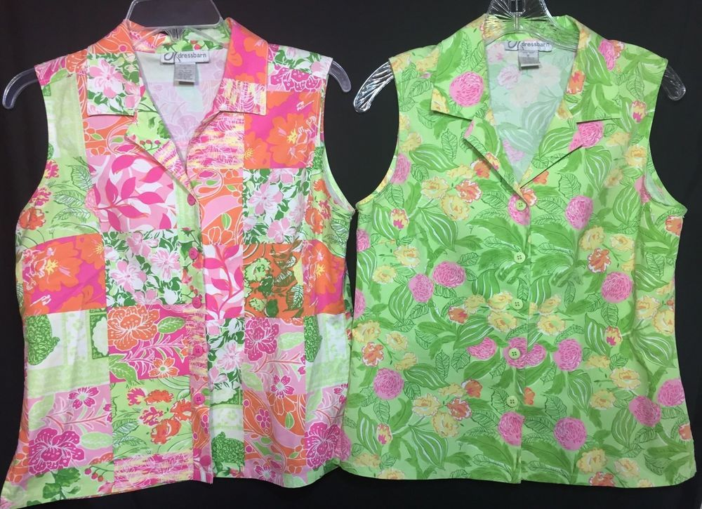 Perfect for summer! Lot 2 Dressbarn Pink Green Floral Shirts Small Sleeveless Button Front