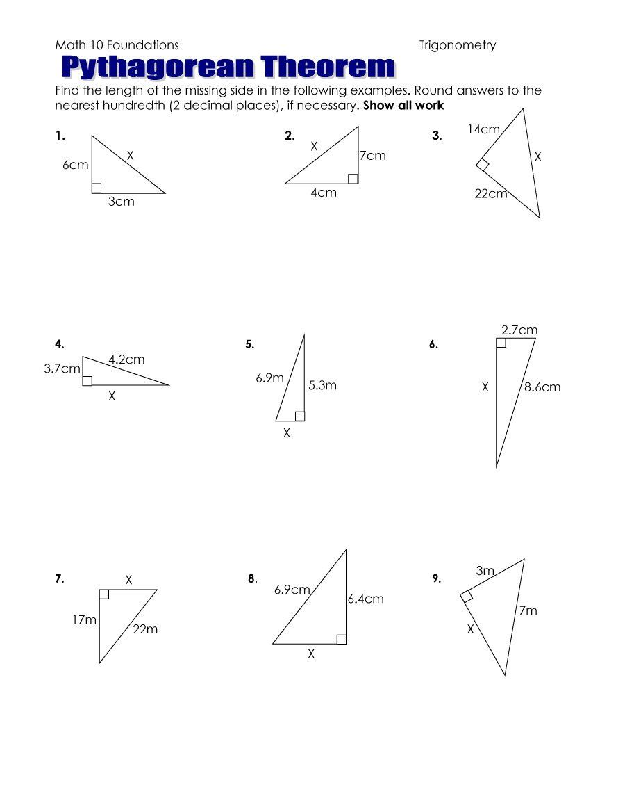 Worksheets Pythagorean Theorem Worksheet Pdf pythagoras theorem worksheet pdf 48 pythagorean with answers by templatelab com