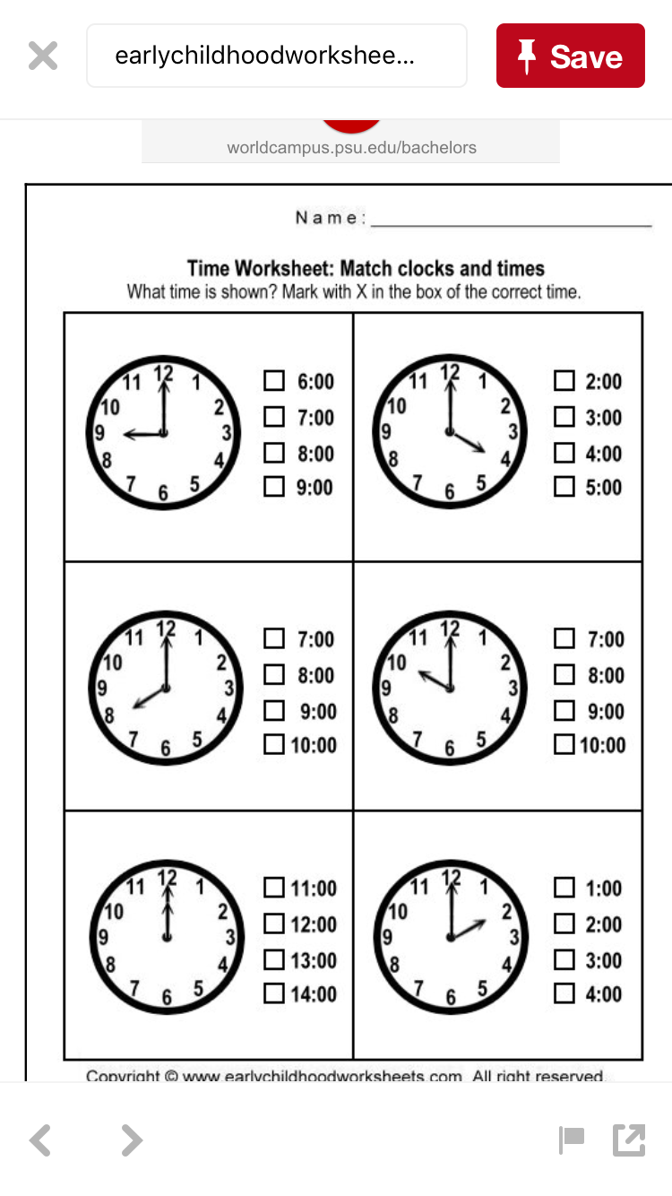 Worksheets Telling Time Worksheets Kindergarten pin by konkle kreations on school pinterest maths telling the printable time matching clocks and look at these choose correct for each clock