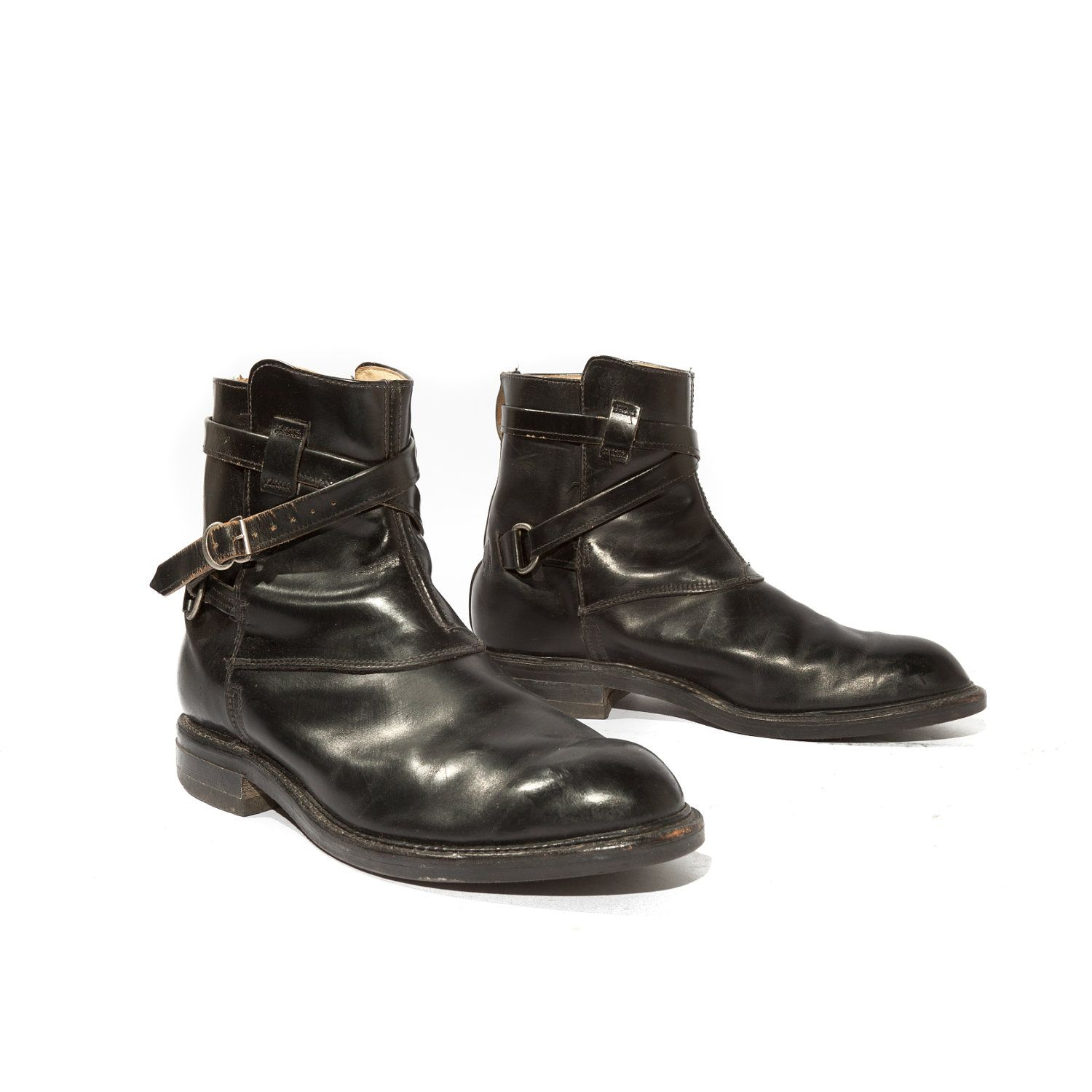 Badass boots! Vintage Men's Ankle Boots Wrap Around Strap and Buckle  Motorcycle Style for Size