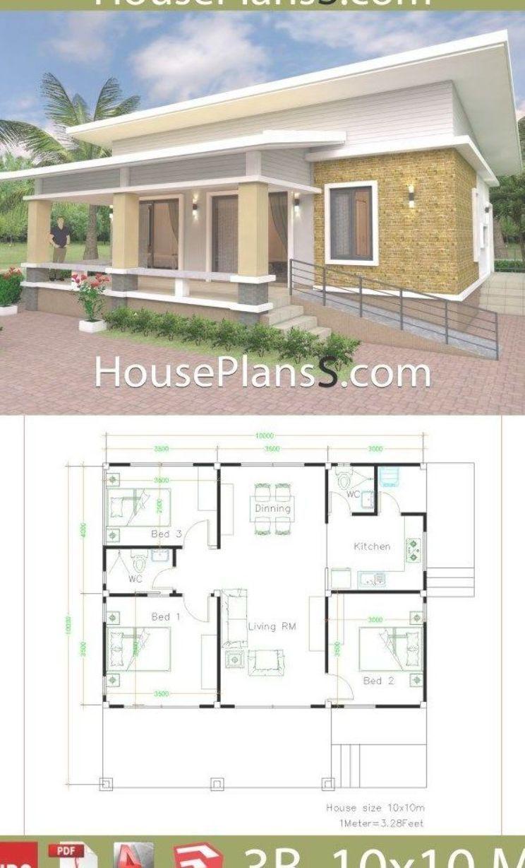 House Design Plans 10x10 With 3 Bedrooms Full Interior House Plans Sam Denah Rumah Denah Rumah Kecil Desain Rumah