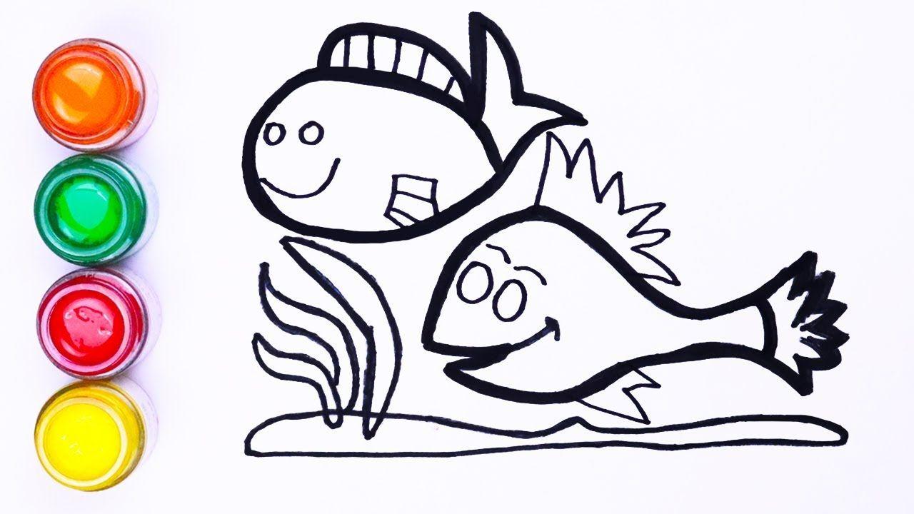 Menggambar Dua Ikan Lucu Menggambar Dan Mewarnai Untuk Anak Anak Balita With Images Drawings