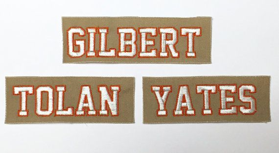 Ghostbusters Gilbert Tan Name Tag with No Ghost Iron On Patch Set of 2